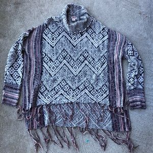 Sweaters - Cowl Neck Poncho Sweater